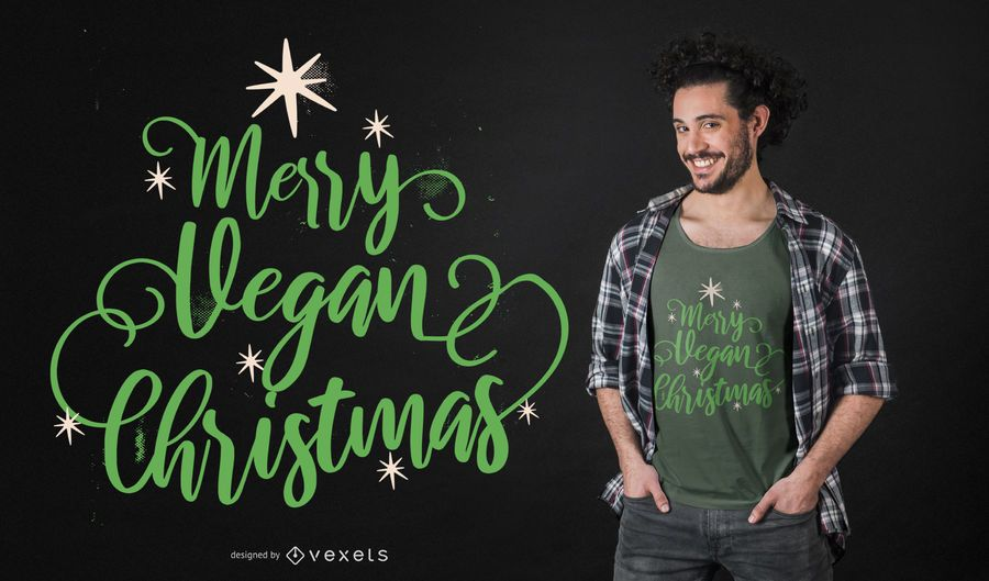 Merry vegan christmas t-shirt design