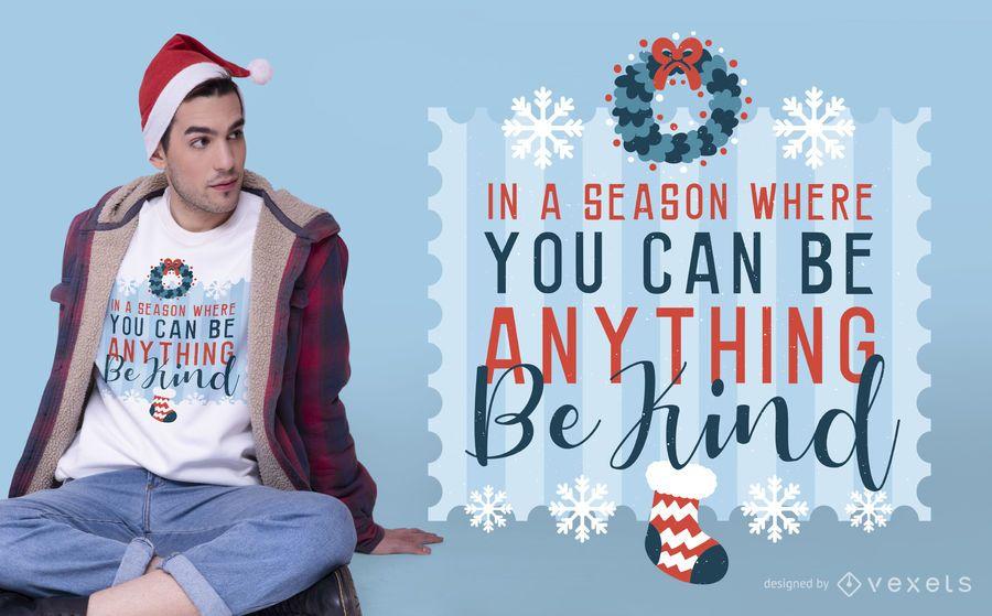 Be kind christmas t-shirt design