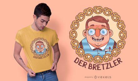 Diseño de camiseta alemana pretzels nerd