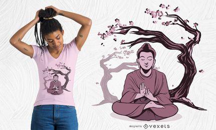 Design de camiseta de Buda sakura