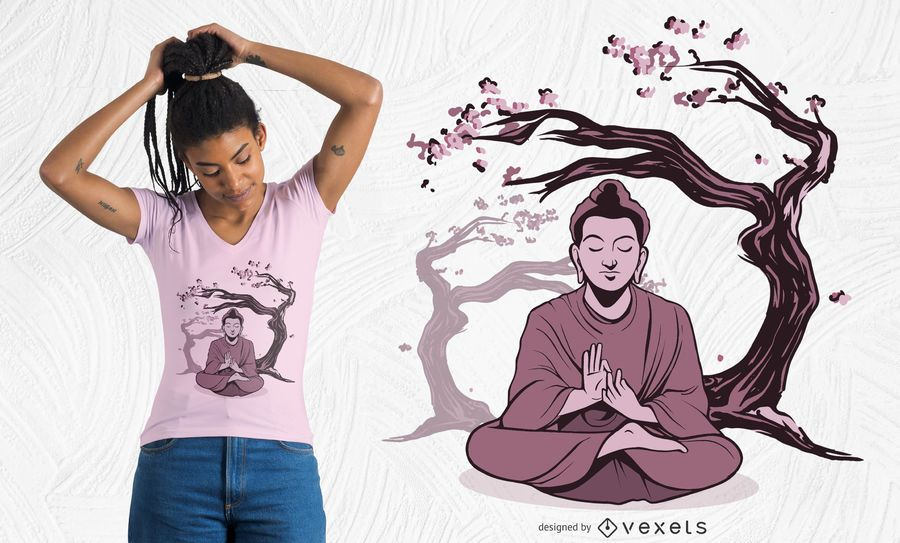 Buddha sakura t-shirt design