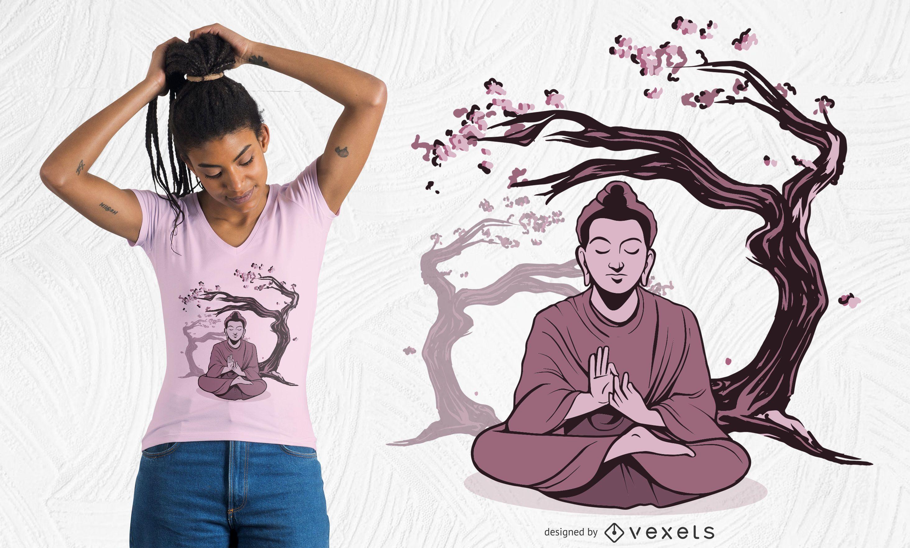 Diseño de camiseta de buda sakura