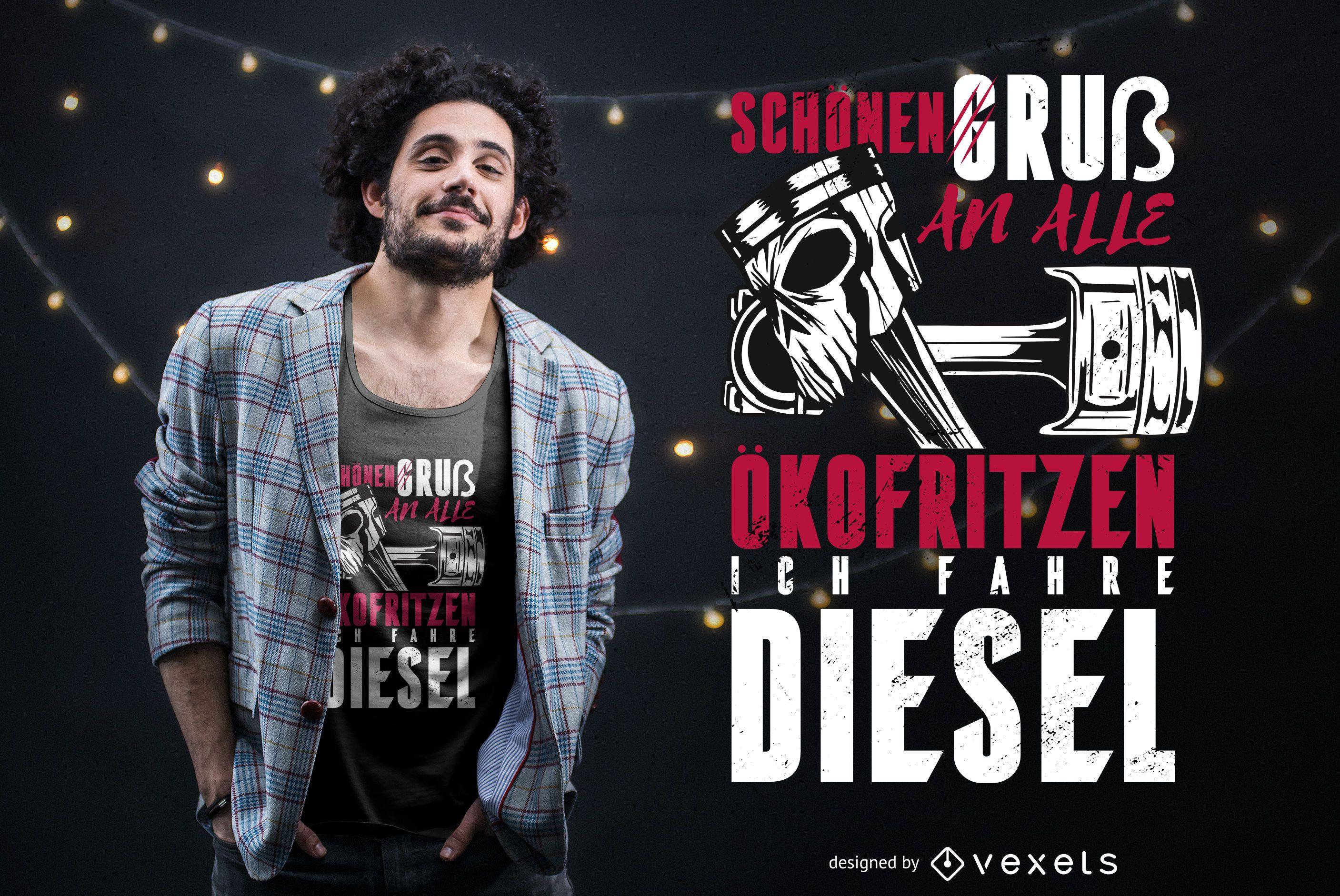 Diseño de camiseta con cita alemana de conducción