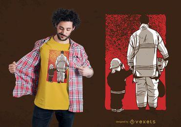 Diseño de camiseta de bombero hijo