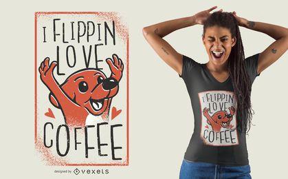 Diseño de camiseta de perro Coffe