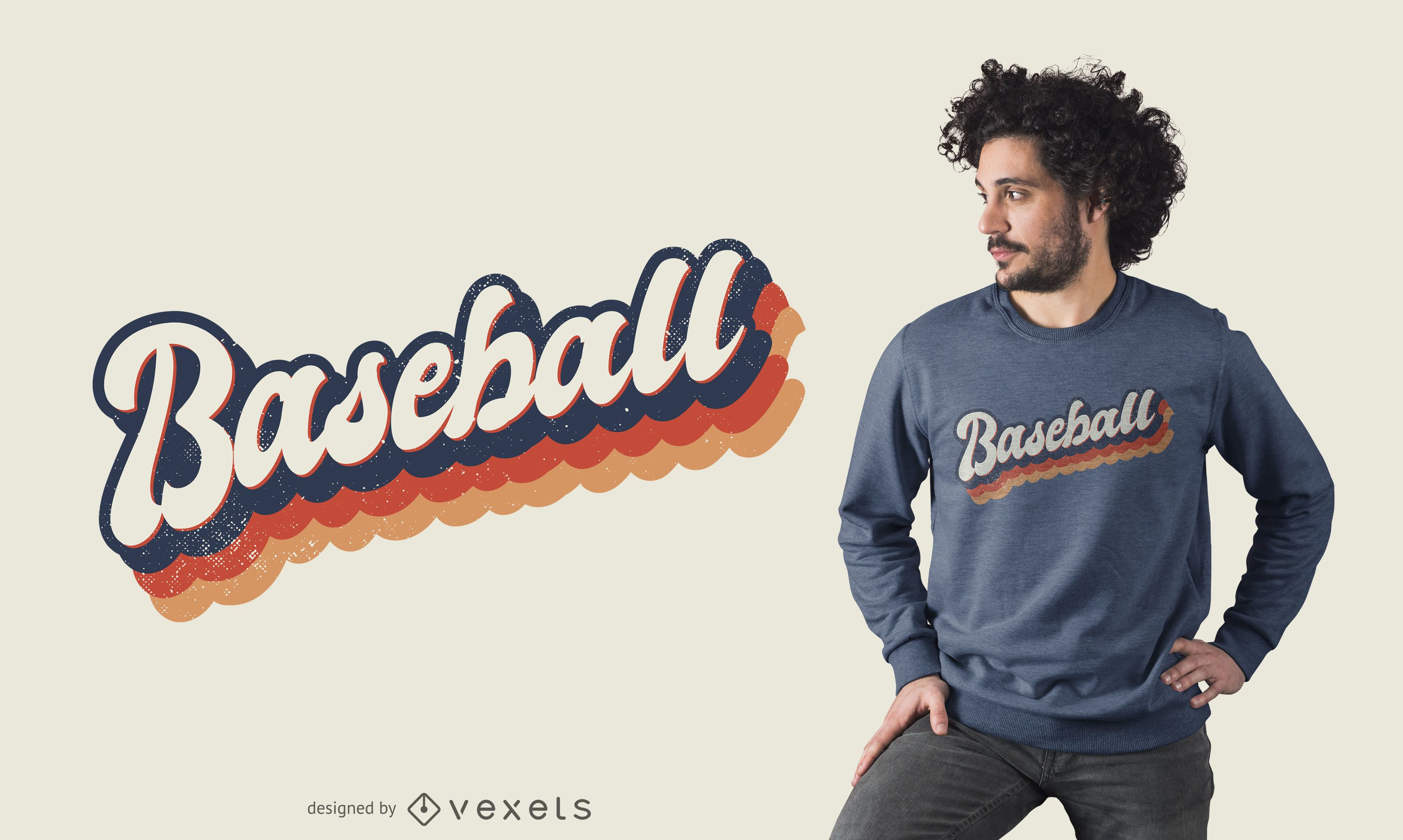 Diseño de camiseta colorida de béisbol