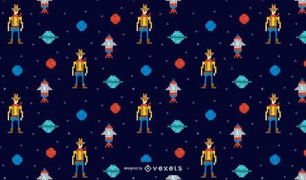 Desenho de padrão de cowboy espacial