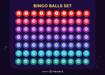 Bingo balls colorful set