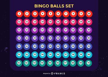Conjunto de bolas de bingo coloridas