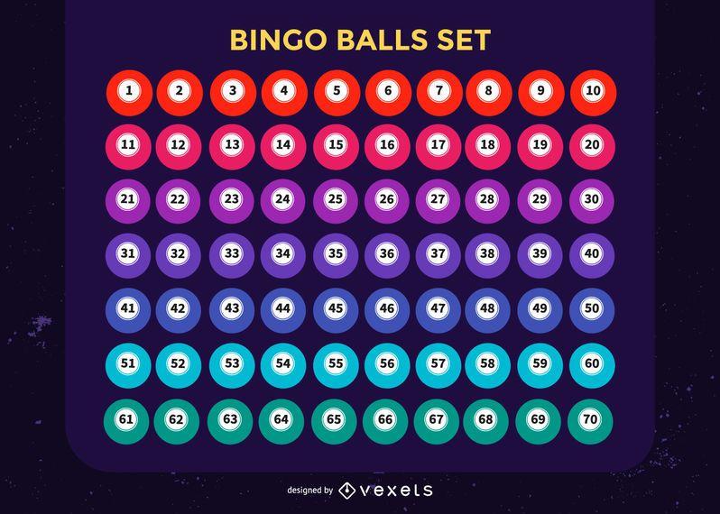 Conjunto Colorido De Bolas De Bingo Baixar Vector