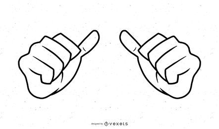 Ilustração de traço de mãos