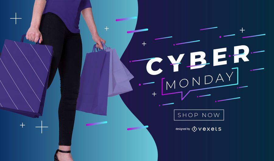 Banner editável do Cyber segunda-feira