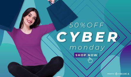 Modelo de banner segunda-feira cibernética