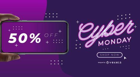 Modelo de banner do telefone Cyber Monday