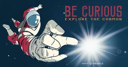 Astronauta seja ilustração curiosa