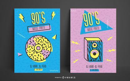 Plantilla de póster de memphis de los 90