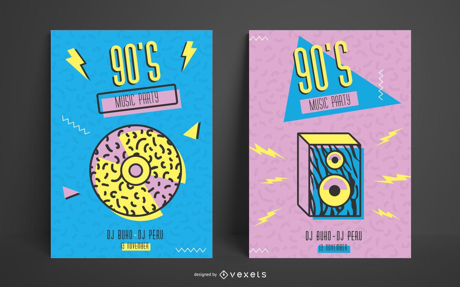 90's memphis poster template