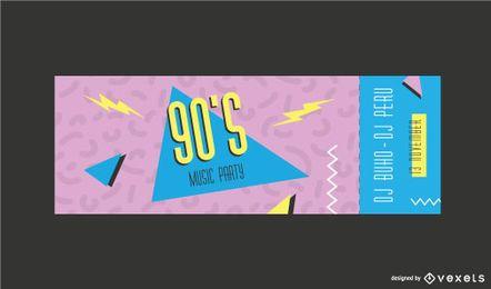 Plantilla de boleto de memphis de los 90