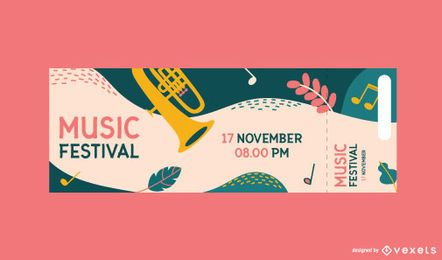 Music festival colorful ticket template