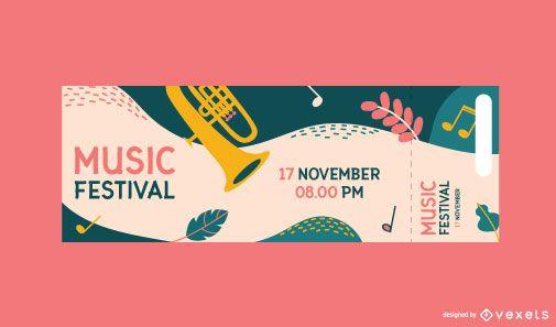 Plantilla de boleto colorido para festival de música