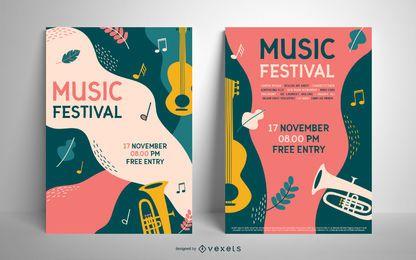Bunte Plakatschablone des Musikfestivals