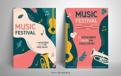 Plantilla de cartel colorido festival de música