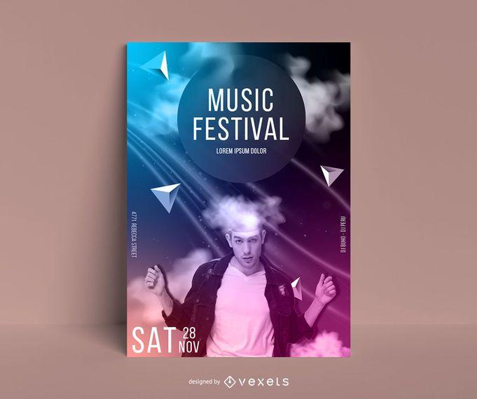 Modelo de cartaz abstrato festival de música