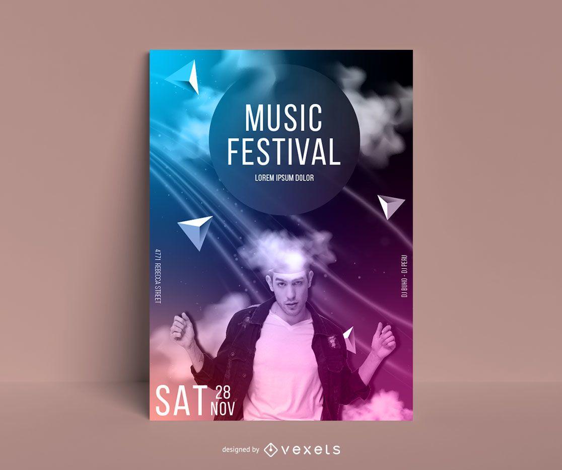 Plantilla de cartel abstracto de festival de música