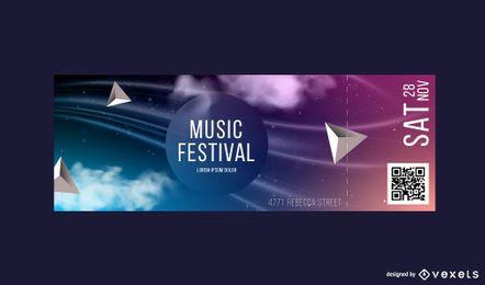 Modelo de bilhete abstrato festival de música