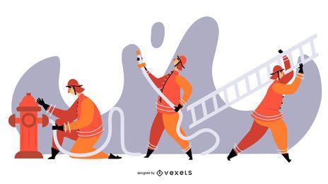 Ilustración de personaje de bomberos