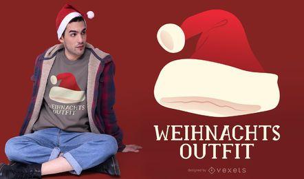 Weihnachtsmannmütze Deutsches Zitat T-Shirt Design