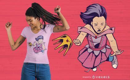 Design de t-shirt de menina caindo