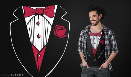 Diseño de camiseta divertida de esmoquin
