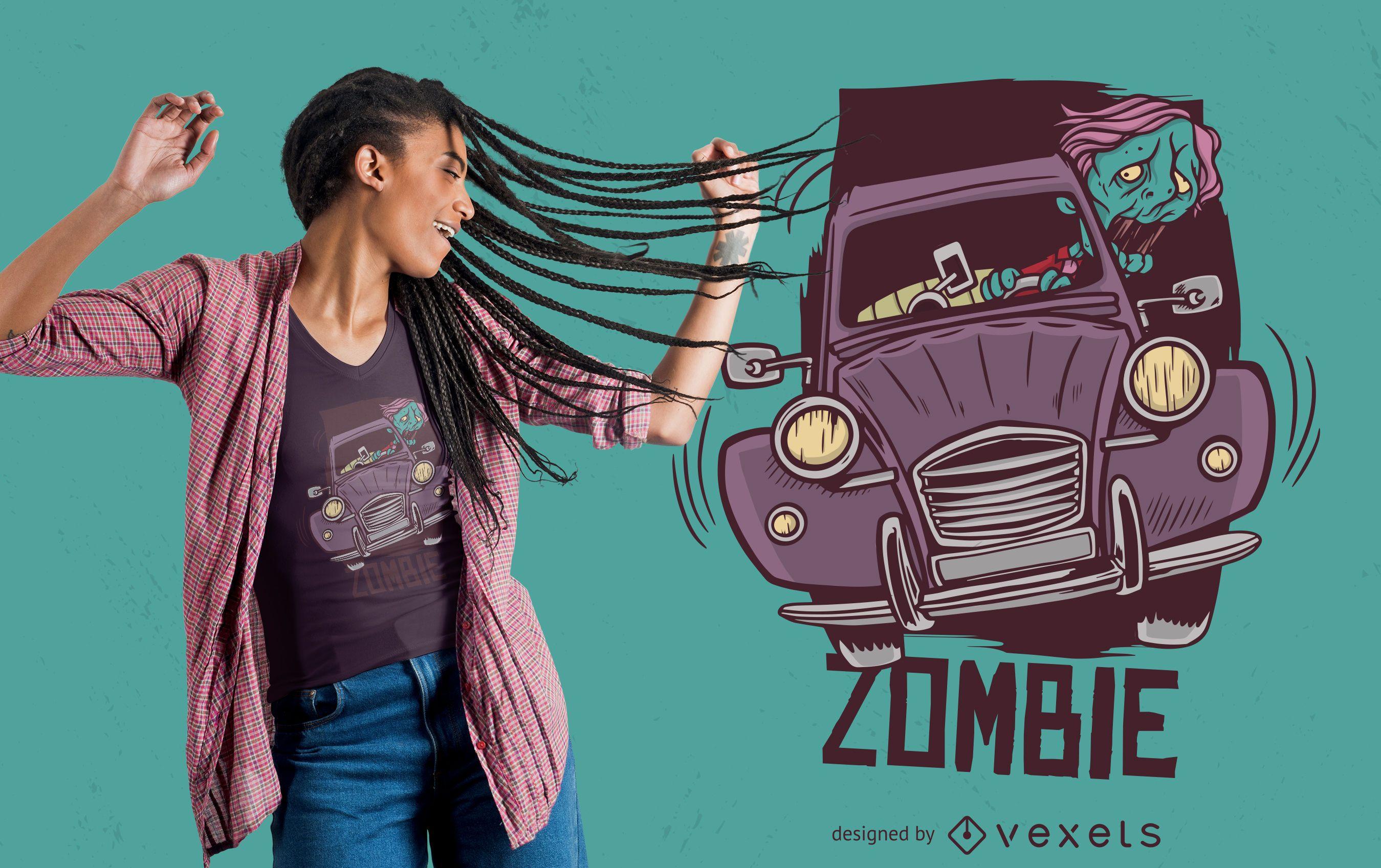 Diseño de camiseta Zombie Driver