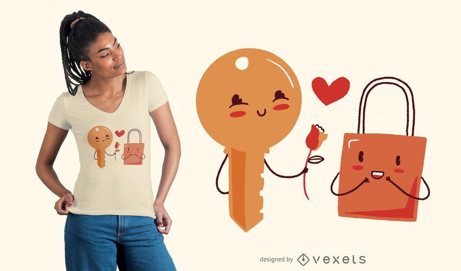 Schlüssel- und Verschluss-Liebes-T-Shirt Entwurf