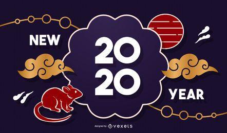 Chinesische Fahnenschablone des neuen Jahres