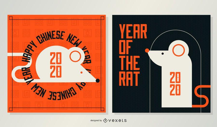 Banners geométricos del año nuevo chino