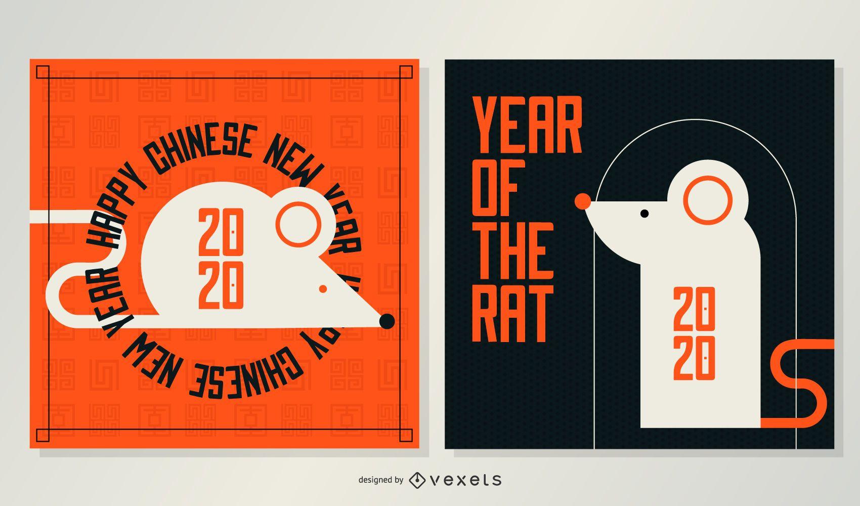 Banners geométricos de año nuevo chino