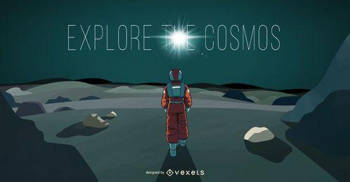 Ilustração do cosmos do astronauta