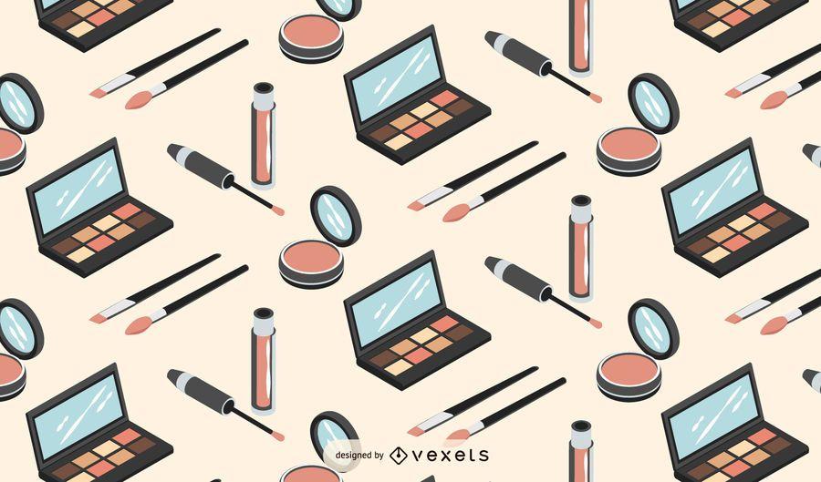 Diseño de patrón isométrico de maquillaje