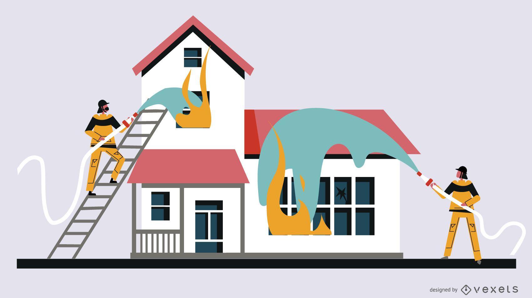 Ilustración plana de la casa de bomberos