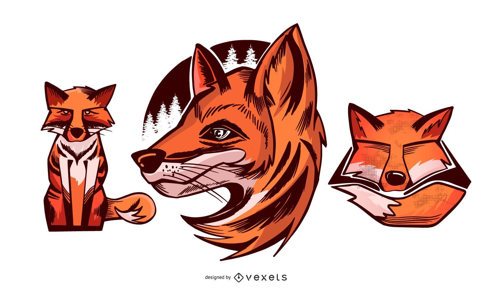 Fox illustration set