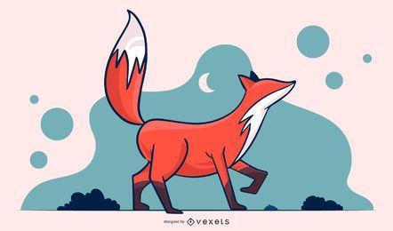 Diseño de ilustración simple de zorro