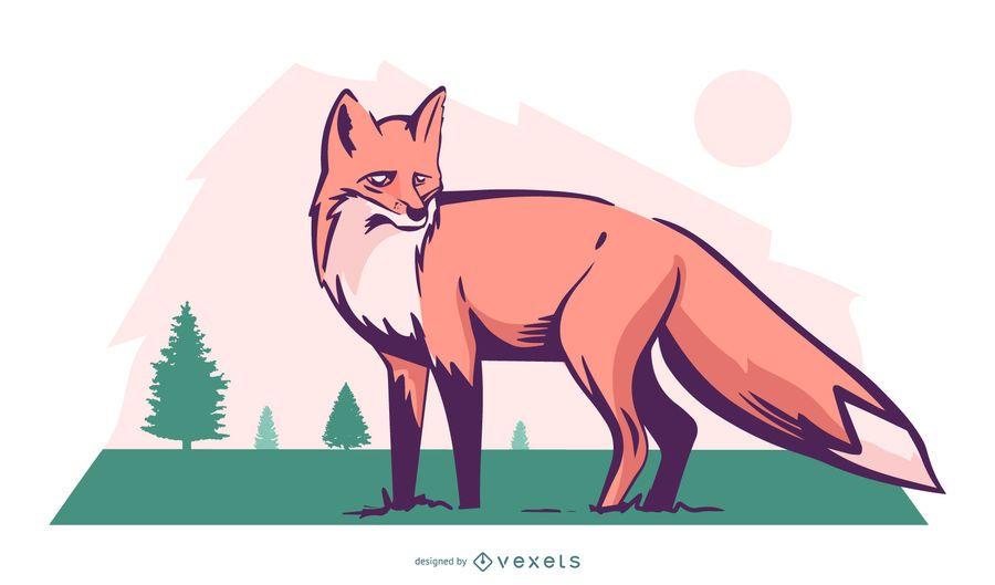 Diseño de ilustración de naturaleza de zorro