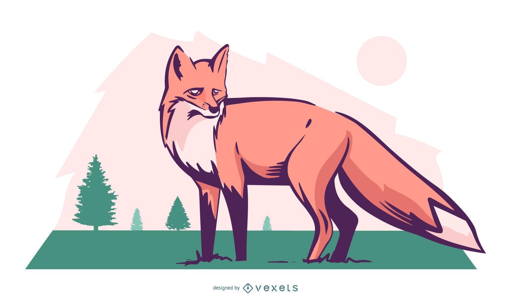 Fox nature illustration design
