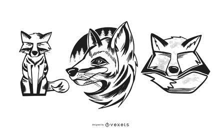Conjunto de design de ilustrações de raposa