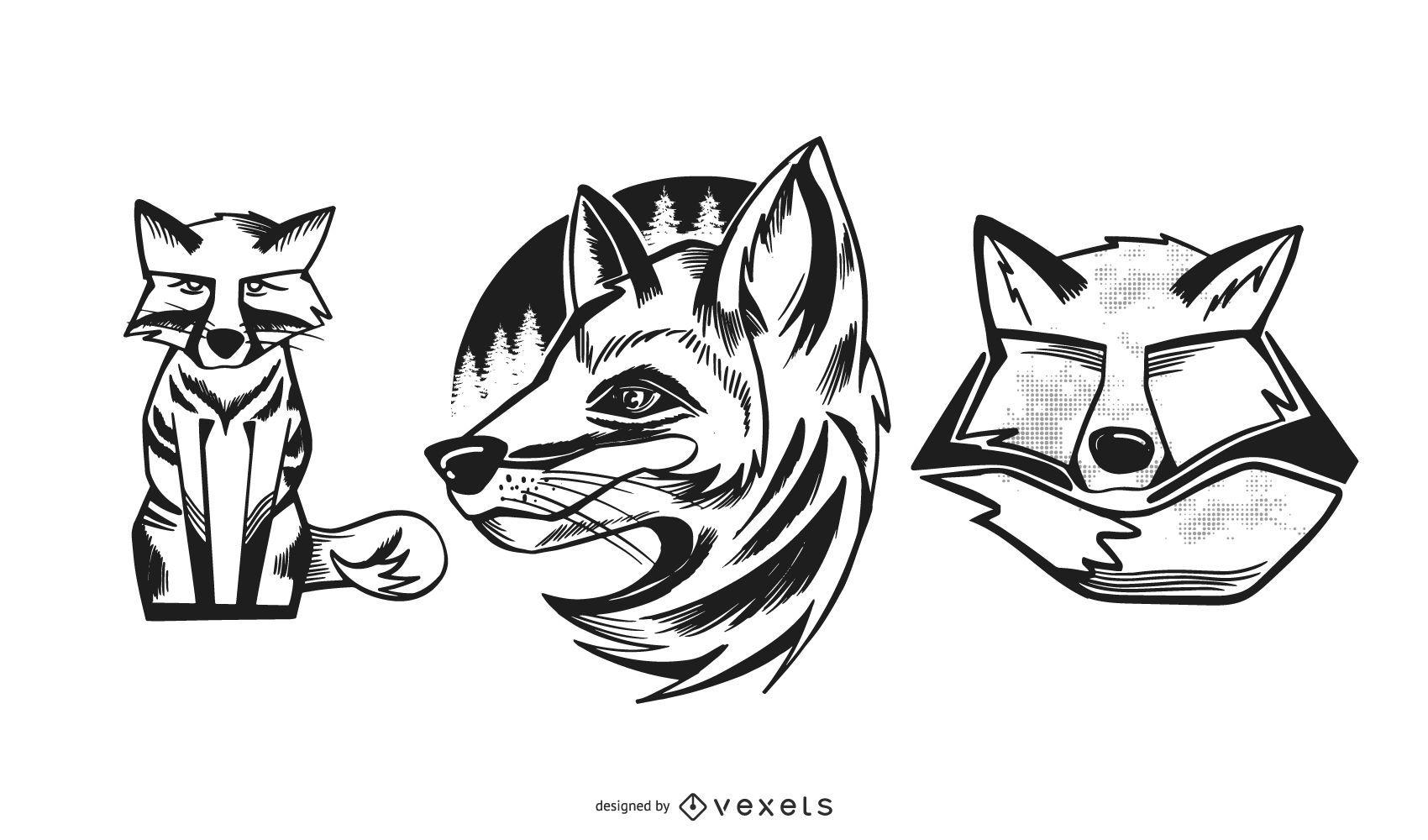 Conjunto de diseño de ilustraciones de zorro