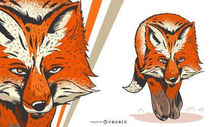 Ilustración artística de zorro