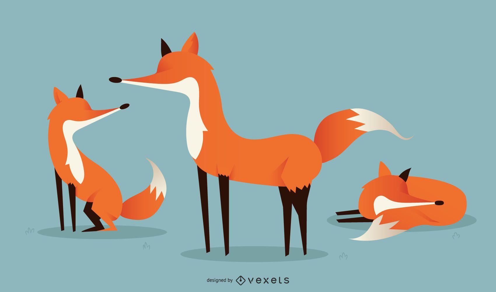 Conjunto de ilustração de raposa simples