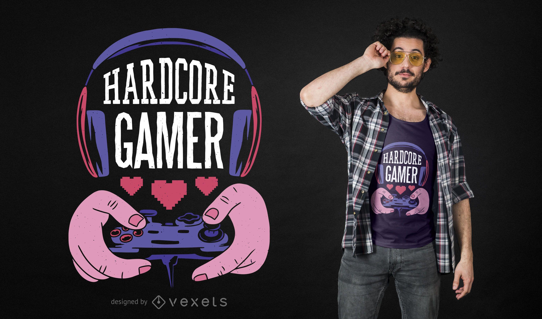 Hardcore gamer t-shirt design